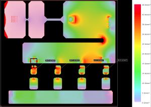 Abbildung Ergebnis der Stromdichteberechnung an einem Testlayout
