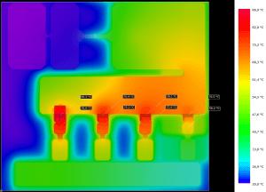 Abbildung Ergebnis der Temperaturberechnung an einem Testlayout