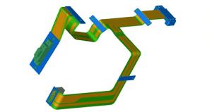 links: Flexverbinder für Industriekamerasystem, rechts: komplexe Flex-LP aus einem Mobiltelefon
