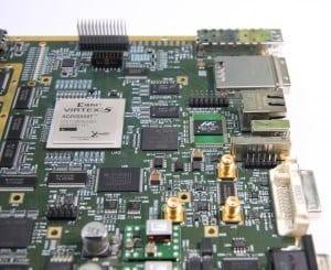 Teil einer komplexen HDI-Leiterplatte mit 6-Gigabit-Signalen, Entwicklung und Design von GED