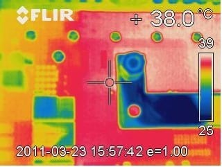 Bild 4: Wärmebild der Backplane bei max. Belastung