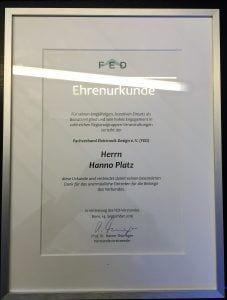FED-Ehrenurkunde für Hanno Platz 2016