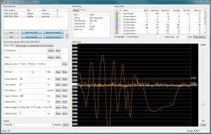Bild: Konfiguration des Sensorknotens und Anzeige von Messdaten, hier des Kraftmess-Sensors, des Beschleunigungs-Sensors sowie der Temperatur im Sensorknoten.
